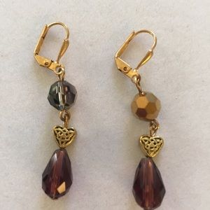Amethyst colored crystal, gold plate earri…